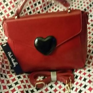 Heart satchel bag in red  wine by Pink Haley (B1)